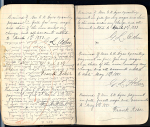 [Mrs. Dyar Sr. Household Ledger], [8_15_2012] by [Blair Bailey], [NMNH], [Acc.12-477], [Book 22 pg 900].