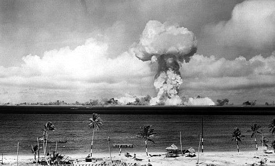 """""""Able Day"""" atomic bomb blast, Operation Crossroads, Bikini Atoll, Marshall  Islands, 1946. Photograph is in the public domain. 98a582c0af6a"""