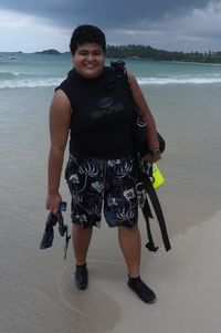 Zeehan Jaafar, ready for a dive, Bintan Island, Indonesia.