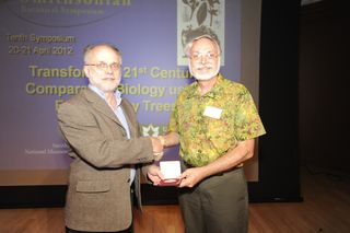 Walter Judd, Professor of Botany at the the University of Florida at Gainesville, accepts the 2012 José Cuatrecasas Medal for Excellence in Tropical Botany from Laurence Dorr (Chair of the Cuatrecasas medal selection committee). (Photo by Ken Wurdack)