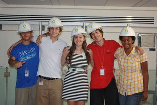 YAB members, Mario Orellana, Facundo Severi, Camila Moscoso, Diego Jauregui, and Jasmine Jackson put on their hard hats to tour the spectacular new NMNH experience that will be called Q?RIUS as they explored ideas to help make the space fun and exciting for teens! Image courtesy of the Smithsonian Institution.