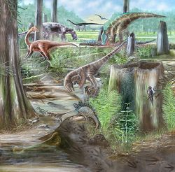 Washington, D.C., 110 million years ago. The Dinosaurs in Our Backyard website explores the science behind this reconstruction of an Early Cretaceous wetland. Illustration by Mary Parrish.