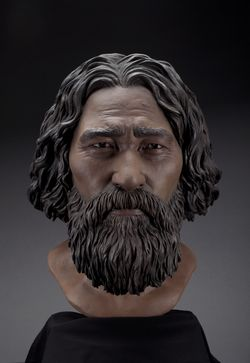 Final Kennewick Man facial reconstruction. Photograph by Brittney Tatchell. Forensic sculpture by Amanda Danning, StudioEIS, Karin Bruwelheide, and Doug Owsley.
