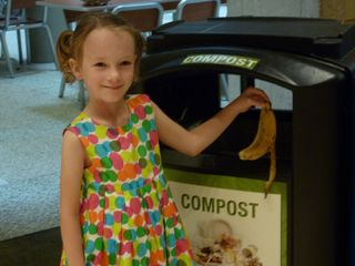 Did you know? At NMNH, we compost food scraps. All you need to do is put your food in the right bin like our visitor is doing here. Image courtesy of NMNH.