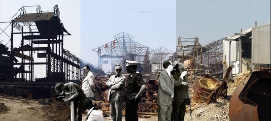 After seizing power in 1965, President Mobutu Sese Seko often visited industrial sites, attempting to promote what was described as good management and hard work. Such events were the subject of wide coverage by the state-controlled media. This montage is composed of individuals from several archival photograph including Mobutu, television crews, and soldiers. Though it seems to depict Mobutu visiting a mine, Baloji is not re-creating a specific historical event, but rather evoking the era. Sammy Baloji.