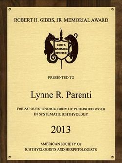 The Gibbs Award plaque presented to Lynne Parenti now hangs in her Fish Division office.