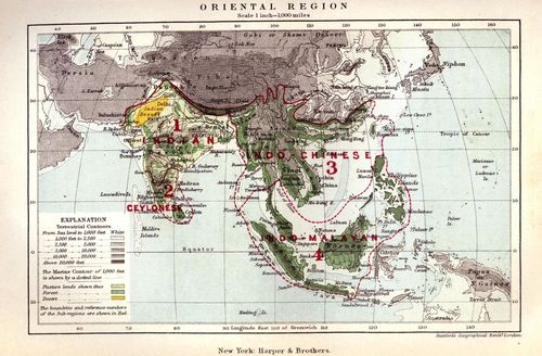 Map of the Oriental Region, by A. R. Wallace (1876). The geographical distribution of animals;  with a Study of the Relations of Living and Extinct Faunas as Elucidating the Past Changes of the Earth's Surface. Macmillan, London.