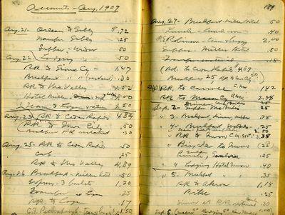 Shimek  Expenses, Aug 1909  428