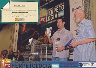 Ron Heyer (right) honored by Brazilian colleages at the Ron and Miriam Heyer, Division of Amphibians and Reptiles, participated in the VI Congresso de Herpetologia  in the city of Salvador, Bahia, Brasil in July 2013.