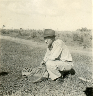 Smithsonian Research Associate William Andrew Archer, collecting in Paraguay with circular sieve and plant press in 1936. (photo courtesy of Hunt Institute for Botanical Documentation, Carnegie Mellon University, Pittsburgh, PA)