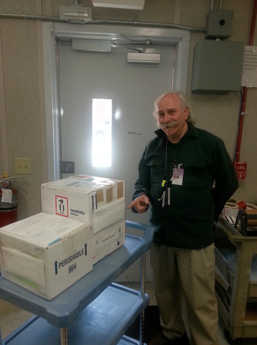 Initiation of a museum transaction (by Museum Collection Staff); and shipping the frozen material on dry ice to NGS facilities (Photo of Paul Greenhall).