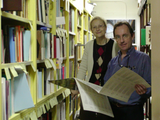 Emanuela Appetiti and Alain Touwaide explore the new Historia Plantarum Collection. (Photo by Elaine Haug)