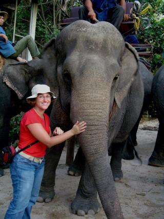 Briana with elephant