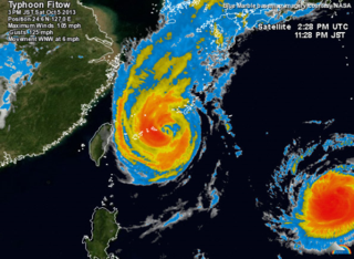 Satellite radar image of Typhoon Fitow (center) and Typhoon Danas (lower right).