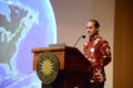 Jonathan Price, University of Hawaii at Hilo, answers big questions with small landmasses using examples from Atlantic and Pacific archipelagos. (photo by Ken Wurdack)