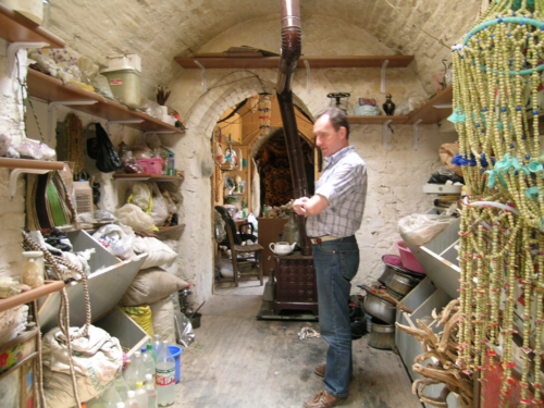 Alain Touwaide in the shop of a traditional healer in Konya, Turkey, 2008 (Photo by Emanuela Appetiti)