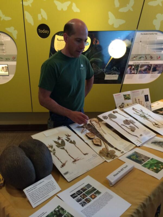"""Gary Krupnick is the """"Scientist is In"""" during Pollinator Week at the National Museum of Natural History, engaging the public with specimens from the U.S. National Herbarium. (photo by Hilary-Morgan Watt, Smithsonian Institution)"""