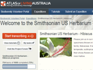 The Smithsonian Herbarium page of the Australia Living Atlas Biodiversity Volunteer Portal