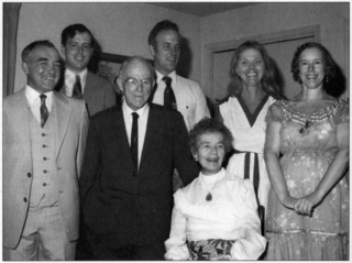 "Photo of the entire Smith family at Lyman and Ruth's 50th wedding anniversary in 1979. From left to right: David, Steve, Chris ""Bunkie"", Donna, Connie, and Lyman and Ruth in the front. Photo courtesy of Chris and Ann Smith."