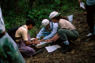 Debbie Bell (right) provides in-depth training in plant collecting techniques in Mt. Popa Park. Bell was one of several participants from the Department of Botany to organize and coordinate a botanical training workshop in Myanmar in 1997.