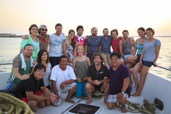 The international team of researchers poses for a photo in the Red Sea
