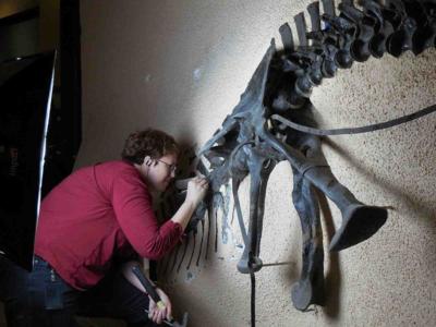 Deb with Ceratosaurus