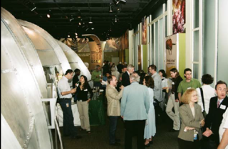 The evening reception fills the Partners in Evolution Hall (Photo by Elaine Haig).