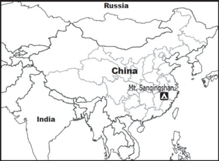 Map of China and neighboring countries showing the geographic location of Mt. Sanqingshan.