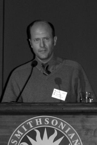 """Dan Hinckley delivers his talk, """"A Nurseryman's Perspective on Bio-Invasion."""" (Photo by Elaine Haug)."""