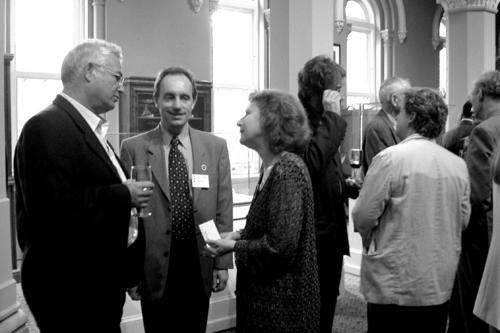 Yishar Hirschfeld (left), Alain Touwaide, and Emanuela Appetiti at a reception during the Symposium. (Photo by Ida Lopez)