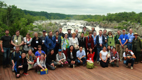 """Next Generation Pteridology: An International Conference on Lycophyte & Fern Research"" included a field trip to Great Falls Park and Scott's Run Nature Preserve to see native ferns growing in the DC region. The participants are gathered here at Overlook #3 on the Virginia side of Great Falls Park. (photo credit unknown)"