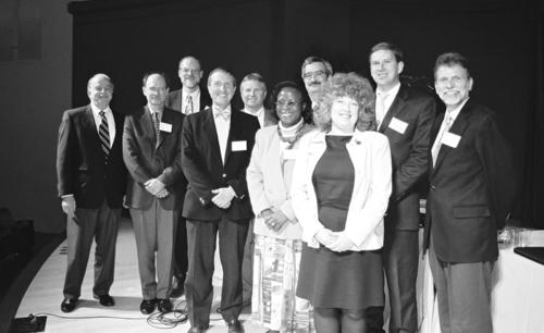 The speakers at the Smithsonian Botanical Symposium.  From left, Ira Rubinoff, Brian Boom, Scott Miller, Tom Lovejoy, Gerald Bills, Stella Simiyu, Braulio Ferreira de Souza Dias, Paula DePriest, Cristian Samper K., and W. John Kress (Head of Botany).