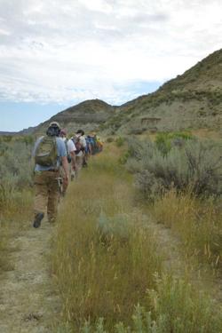 Hiking toward the outcrops