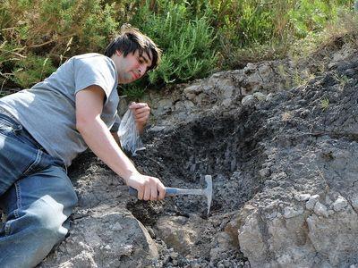 Sampling grey mudstone