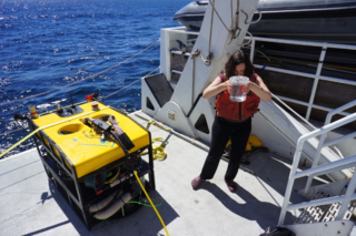 Karen Osborn and the mini-ROV