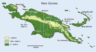 Map of the Islands of New Guinea. Papua New Guinea is at the right of the dividing line.