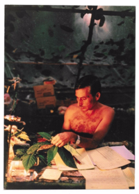 Seymour Sohmer in 1989 preparing specimens during a Hunstein River expedition to Papua New Guinea, a National Geographic Society-supported project. (photo by Jay Dickman)