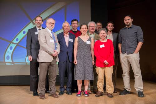 Speakers, conveners, and award recipients of the 2016 Smithsonian Botanical Symposium at the National Museum of Natural History (from left): Ken Wurdack, Laurence Dorr, Kamal Bawa, Robert Raguso, Tatyana Livshultz, David Roubik, Seán Brady, Candace Galen, Matthew Koski, and Nathan Muchhala. (photo by Tomas Fer)