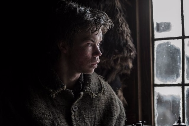 Figure 2: Will Poulter as Jim Bridger, inside the movie's version of Fort Kiowa. Image source: Kimberley French / Twentieth Century Fox.