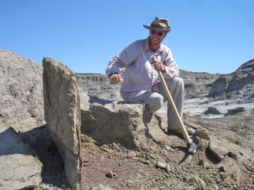 Tyler Lyson sits in the plant quarry next to a large slab of rock containing plant fossils