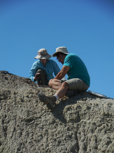 Perched high on an outcrop, two members of the team collect sediment that later will be searched for very small fossils.