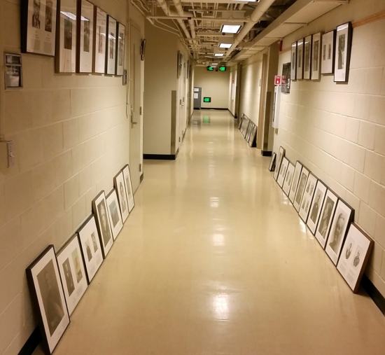 Arranging the portraits after they arrived back to the halls of IZ at NHB.