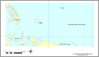 The archipelago of Palau, only 465 km2, occurs west of the Federated States of Micronesia (FSM), and southwest of the Guam and the Marianna Islands.
