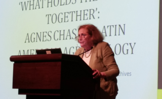 Pamela Henson (Smithsonian Institution Archives) discussing the adventures of botanist Agnes Chase. (photo by Gary Krupnick)
