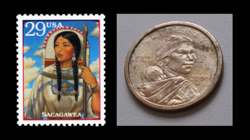 Sacagawea stamp and coin