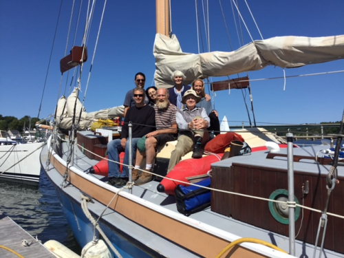 Alca i crew on completion of last leg of 2017 cruise: (back left to right) George Georgiadis, Silvana Campello, Karen Loveland Adey, Maggie Johnson; front Thew Suskiewicz, Tim Goertemiller, Walter Adey. (photo by Karen Loveland Adey)