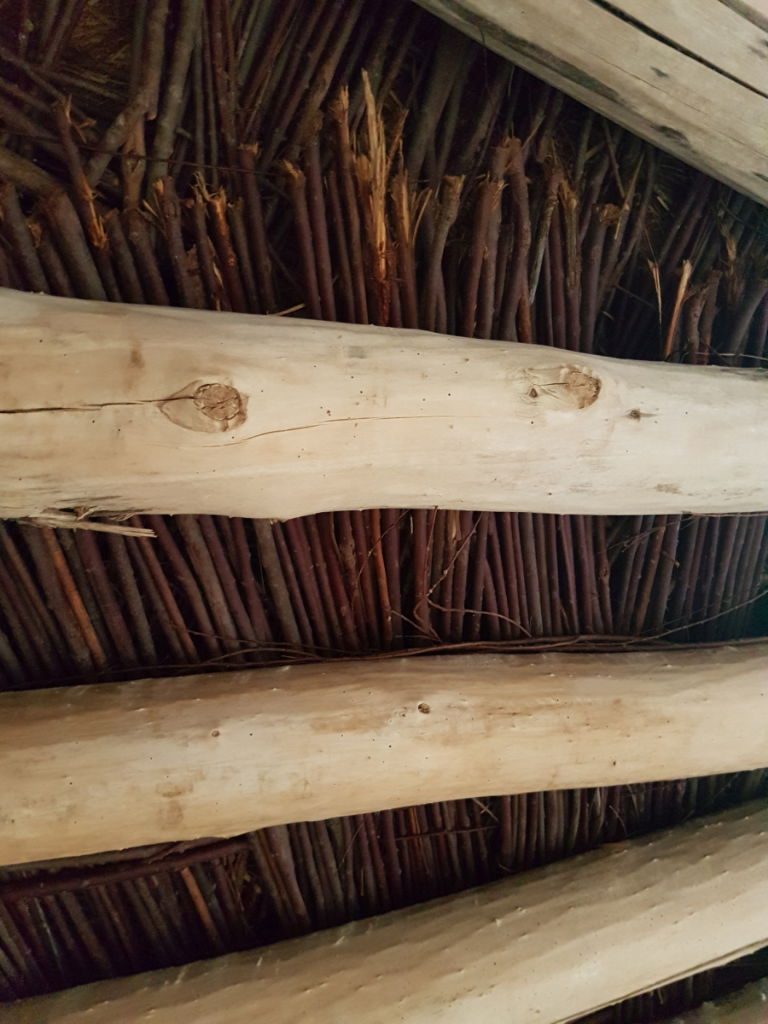 Close-up of interior of roof of an earth lodge at On-A-Slant Village.