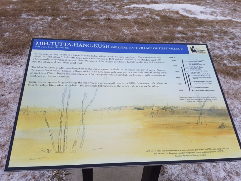 One of the many interpretive signs providing information to visitors at Fort Clark State Historic Site