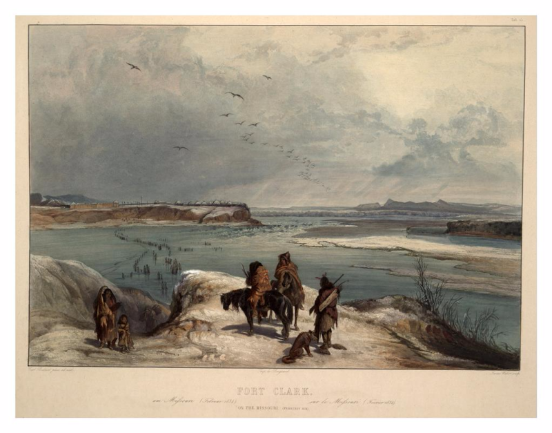 "Karl Bodmer, ""Fort Clark – on the Missouri (February 1834),"" aquatint from the book ""Maximilian, Prince of Wied's Travels in the Interior of North America, during the years 1832–1834"" by Prince Maximilian of Wied , Publisher: Ackermann & Co., 1839."