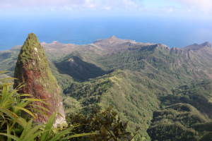 Poutetainui (foreground) and the Ua Pou airstrip (background). (photo by Jean-François Butaud)